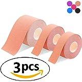 3巻入 キネシオロジーテープ テーピングテープ 筋肉テープ 筋肉・関節をサポート 伸縮性強い 汗に強い 肩・腰・膝・足・ すね用 1卷 5cm x 5m / 2卷 2.5cm x 5m