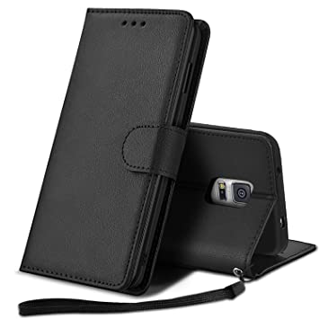 YPPET Funda para Samsung Galaxy S5, Cuero PU Fundas para Samsung S5 Carcasa Case (Negro)