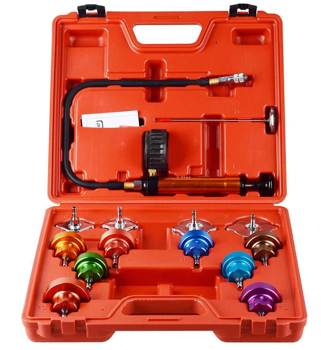 Tiziri 14Pcs Cooling System Leak Universal Radiator Pressure Tester and Vacuum Type Cooling System Kit