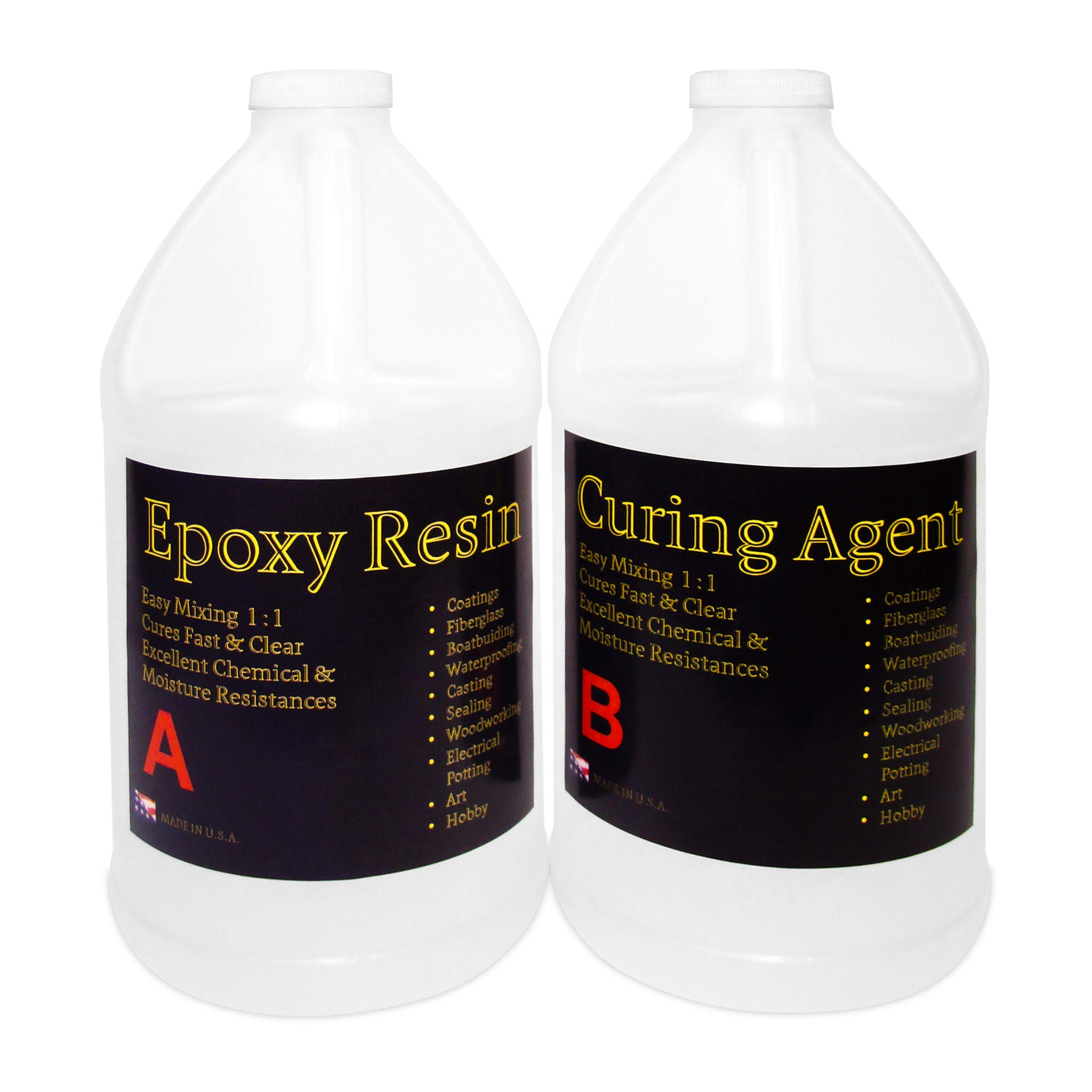 Clear Epoxy Resin for Table Tops, Bars, Fiberglass, Concrete - Professional Grade High Gloss Finish Multi-Purpose Resin - 2 Gallon Kit