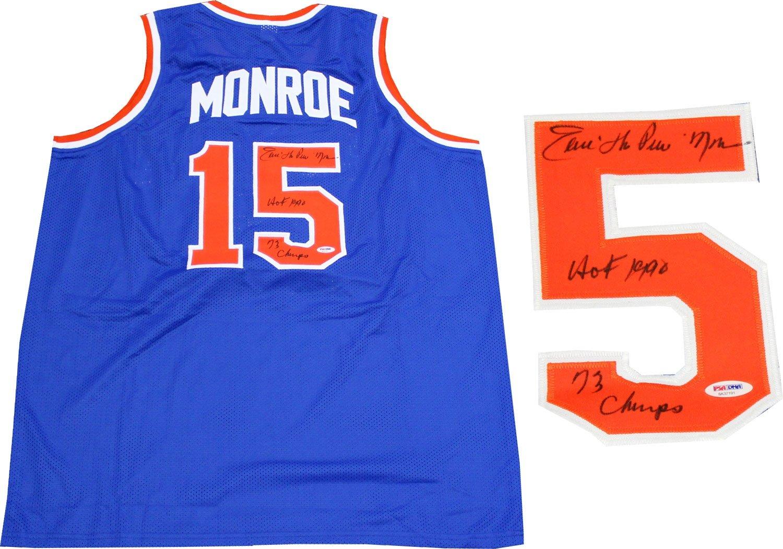 Earl Monroe 'HOF 1990, 73 Champs' Autographed New York Knicks Blue Jersey (PSA) 73 Champs Autographed New York Knicks Blue Jersey (PSA) Hollywood Collectibles