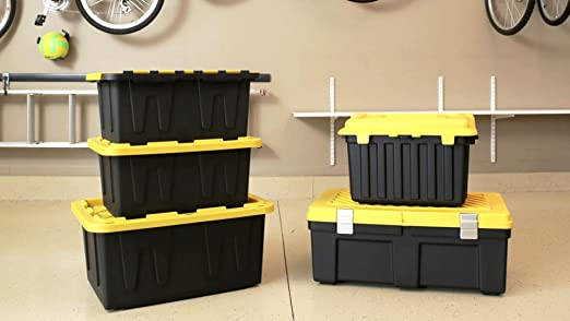 Amazon.com: HOMZ 27 Gallon Durabilt Tough Storage Container, Black Base,  Yellow Lid, Stackable, 4 Pack: Home U0026 Kitchen