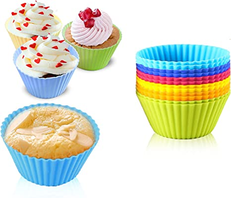Reusable Silicone Nonstick Baking Cups Assorted Colors Cupcake Holder Set Of 12