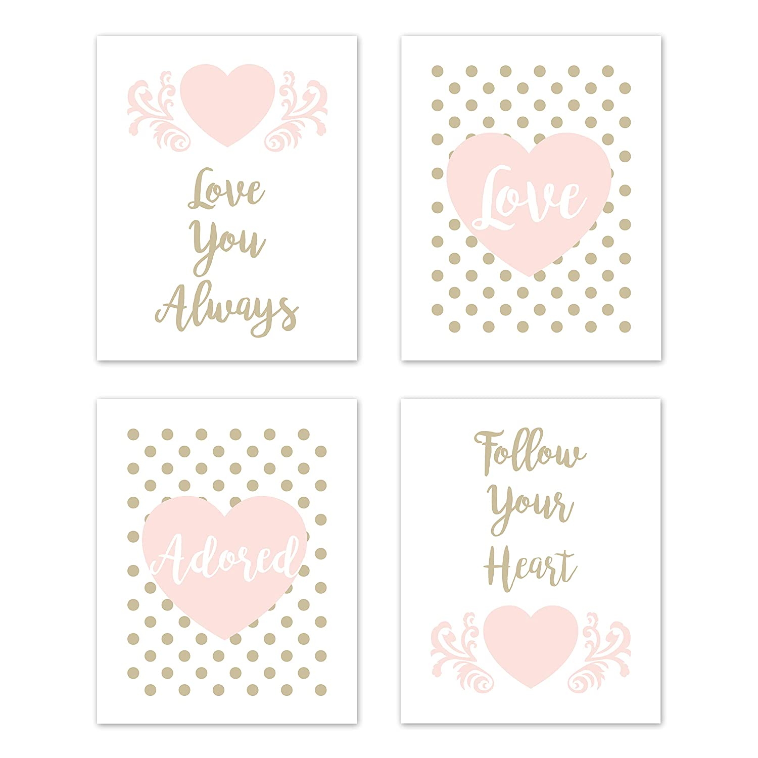 Sweet Jojo Designs Blush Pink, Gold and White Polka Dot Heart Wall Art Prints Room Decor for Baby, Nursery, and Kids for Amelia Collection - Set of 4 - Love You Always, Follow Your Heart