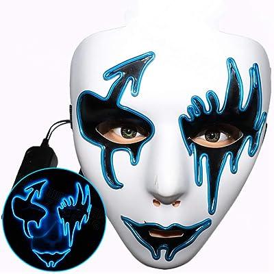 QWE Máscara LED de Halloween, decoración de Disfraces de Miedo para la Brillante máscara de Halloween Cosplay Carnival Party (Colour 2): Juguetes y juegos
