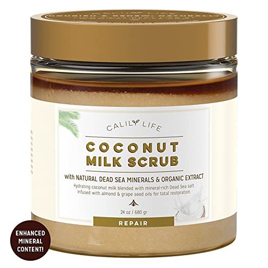Calily Life Organic Coconut Milk Scrub with Dead Sea Minerals, 24 Oz. – Deep Nourishment and Moisturizing- Exfoliates, Removes Wrinkles, Clears Eczema, Gets Skin Smooth & Revitalized [ENHANCED]