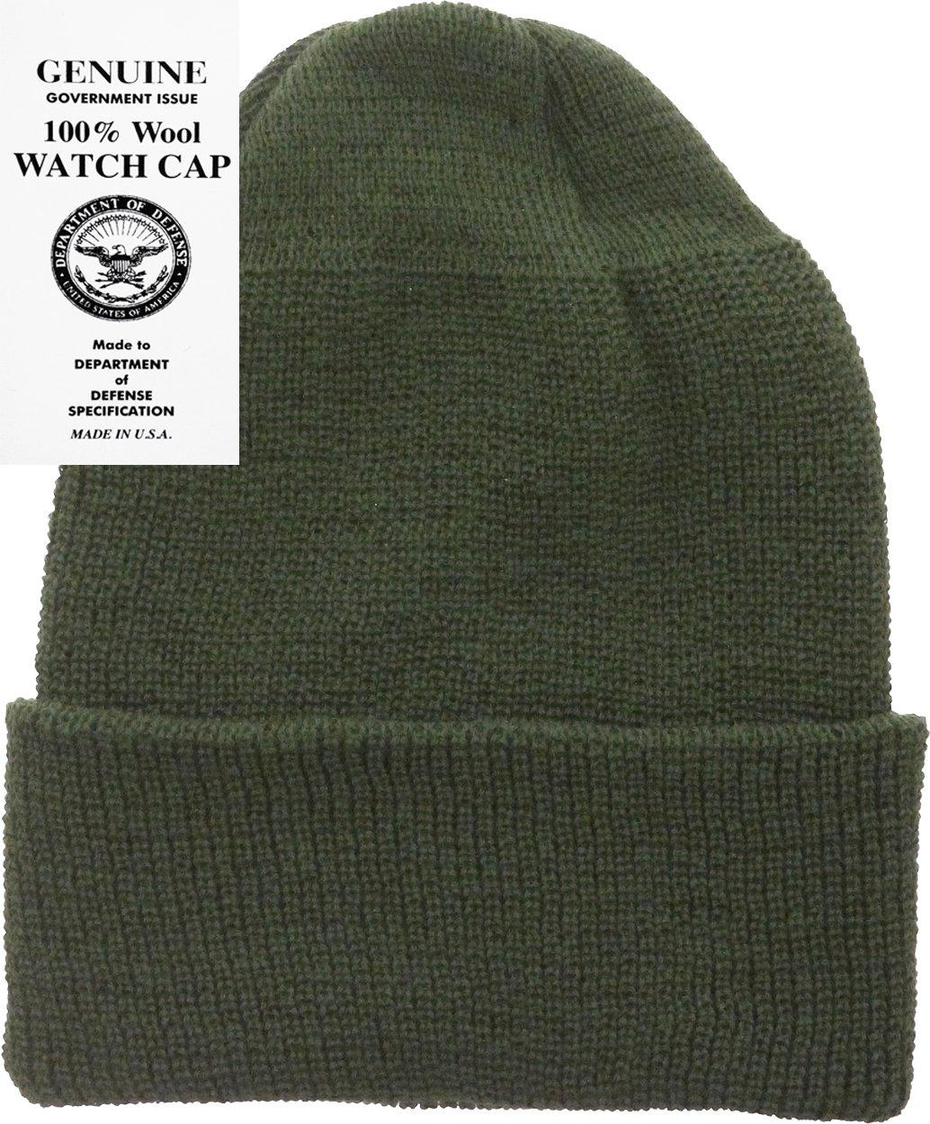 Military Genuine GI Winter USN Warm Wool Hat Watch Cap (Olive Drab)