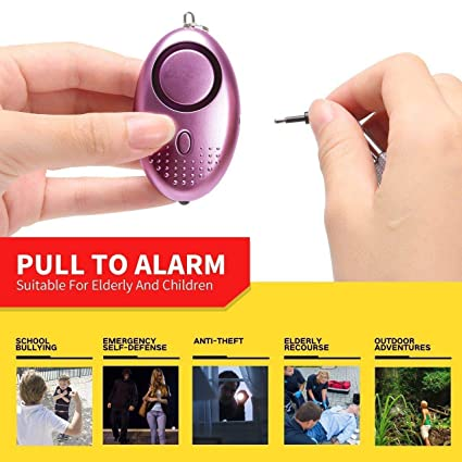 2 Pack Personal Alarm Keychain SOS Emergency Self-Defense Safe Siren Sound Weapon with Built-in Flashlight Anti-Attack Anti-Rape Anti-Theft Song Alarm ...