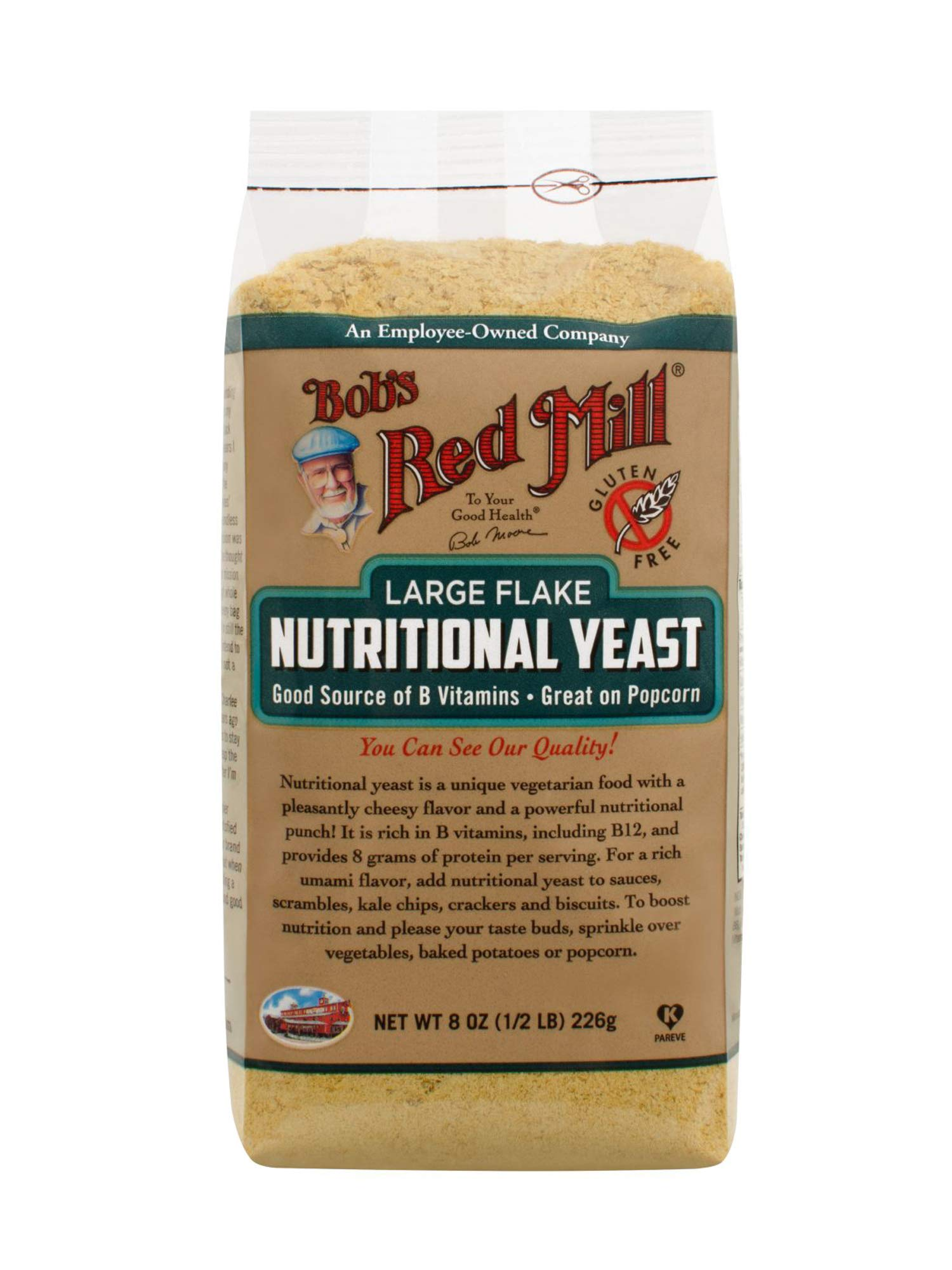 Bob's Red Mill Gluten Free Large Flake Nutritional Yeast, 8 Oz (4 Pack) by Bob's Red Mill