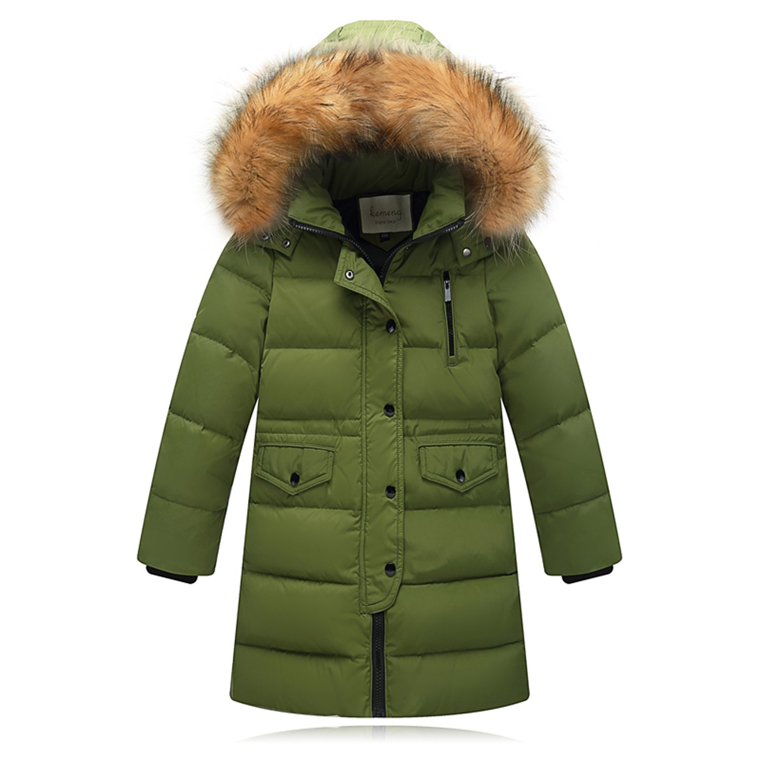 Seeduck Big Girls' Winter Parka Down Coat Puffer Jacket Padded Overcoat Fur Hood