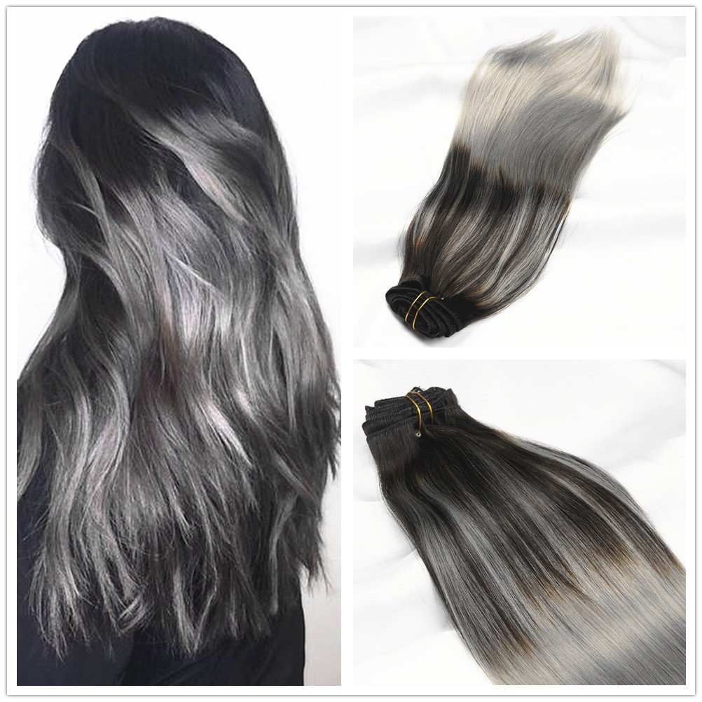 Alizee 18 Inch Black To Silver Grey Hair Highlights Ombre Balayage Clip In Human Hair Extensions Natural