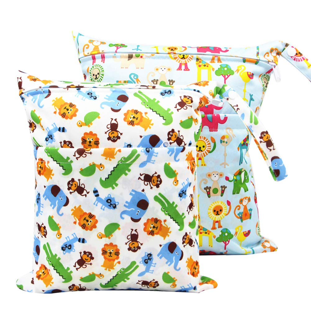 Dirty Clothes and More, HOMYY 2pcs//Pack Baby Diaper Bag Resuable Nappy Bag Wet Dry Baby Diaper Pouch Travel Diaper Organiser Bag Waterproof for Babys Nappies 5