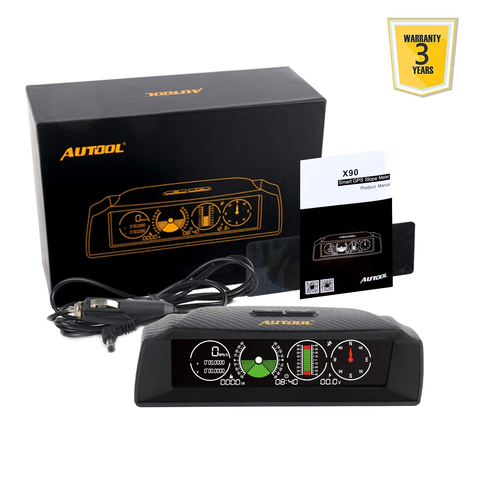Car Inclinometer Level Tilt Gauge, AUTOOL X90 Car HUD GPS Speedometer MPH Car Electronic Compass Clinometer Indicator, Digital Inclinometer Car Angle Slope Meter For off-road Vehicle by AUTOOL