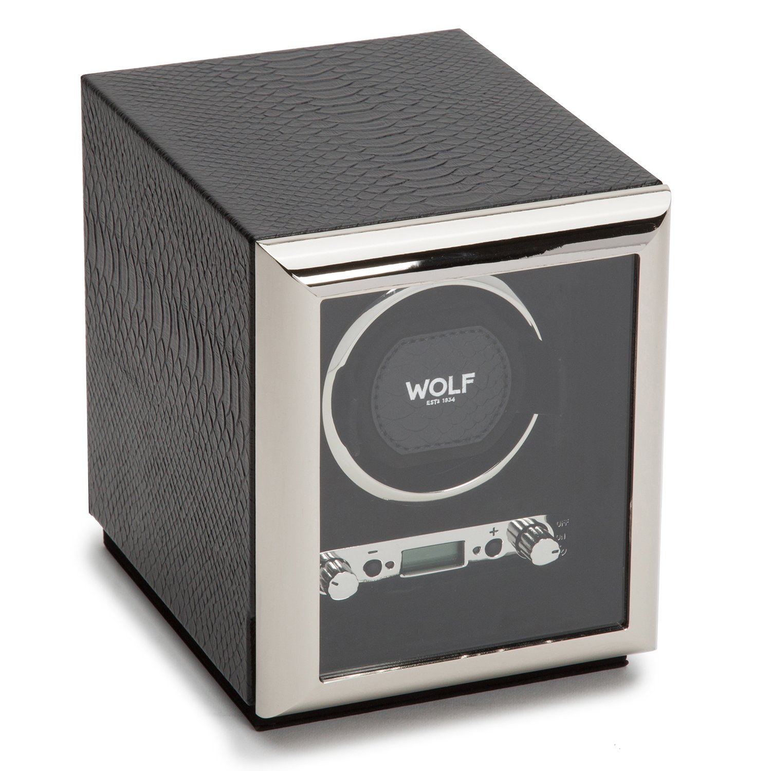 WOLF 461720 Exotic Single Watch Winder with Cover, Black