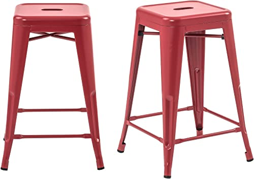 Buschman Set of 2 Matte Red 24 Inch Counter Height Metal Bar Stools, Indoor Outdoor, Stackable
