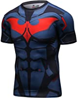 Red Plume Men's Compression Sport Tight Cool Fashion Bat Running T Shirt
