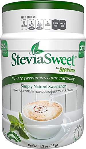 Steviva SteviaSweet - Pure Stevia Extract Fine Powder NonGMO Low Carb Sweetener (1.3 Ounce)
