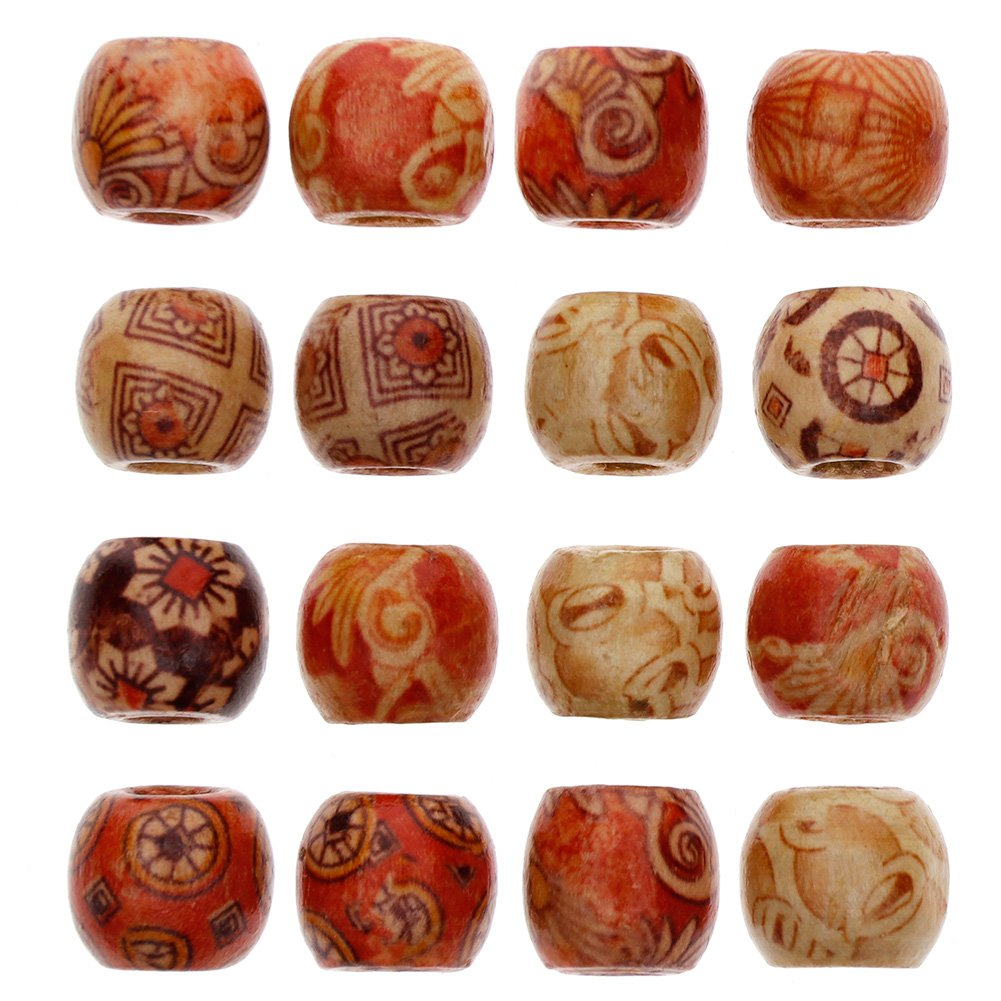 Juanya Wholesale 100pcs 12mm Mixed Painted Drum Wood Spacer Beads Wooden Beads for DIY Jewelry Making Hair Accessories