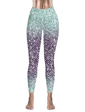 4736da2c2b1e5 Amazon.com: Custom Women Leggings Capri Gradual Color Marbling High Waist  Leggings for Sport Gym Fitness Yoga Pants: Clothing