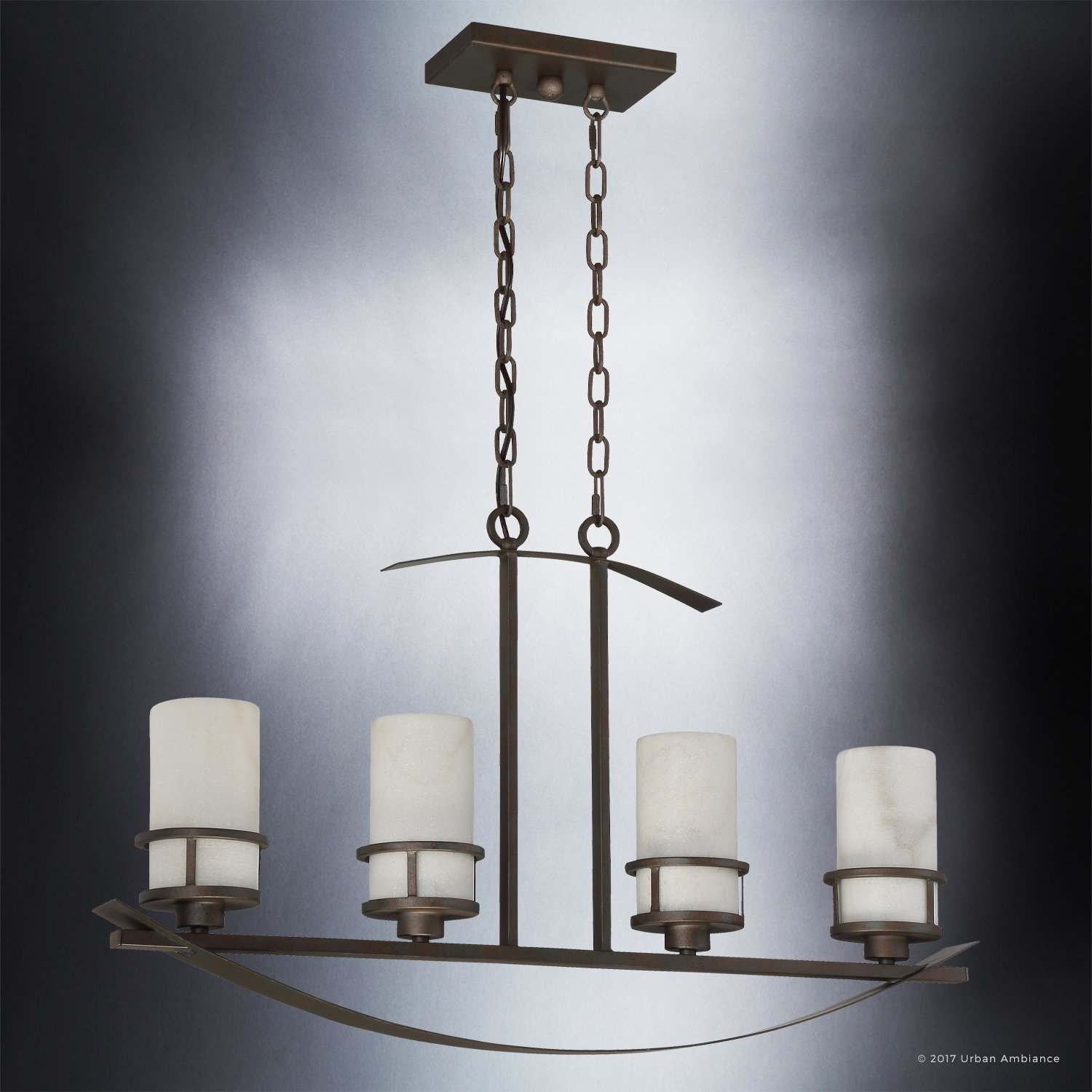 Luxury Rustic Chandelier, Large Size: 18.5''H x 32.5''W, with Craftsman Style Elements, Banded Wrought Iron Design, Forged Iron Finish and White Onyx Stone Shades, UQL2415 by Urban Ambiance by Urban Ambiance (Image #4)