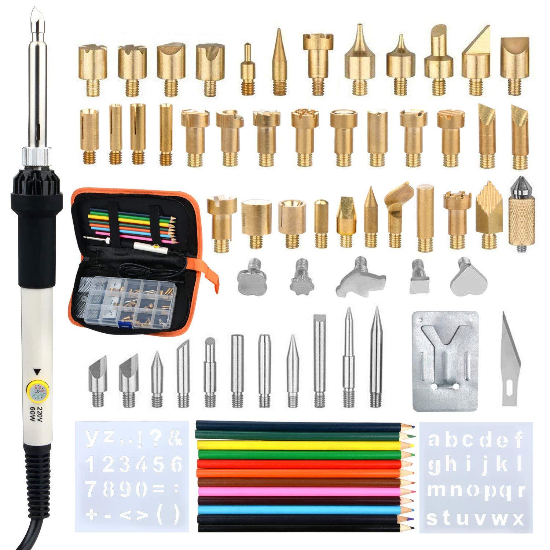 Temperatur Einstellbar 200/°C-450/°C,Handwerk Zeichenstift f/ür Holzbearbeitung Leder L/ötkolben Set Elektronik,77Pcs,60W L/ötkolben Kit Soldering Iron Set