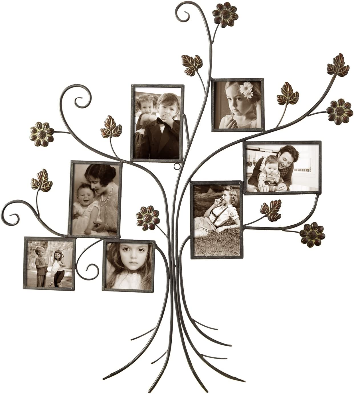 Asense 7-Opening Decorative Bronze Iron Tree Wall Hanging Collage Photo Picture Poster Frame, 4 by 4 and 4 by 6 Inch