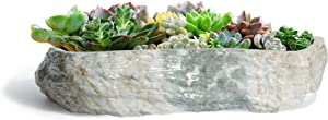 T4U Succulent Pot Ceramic 10 Inch Rectangle Marbling Irregular, Faux Rock Style Flower Pot Planter Herbs Cactus Porcelain Container Indoor Use for Home and Office Decoration Gift