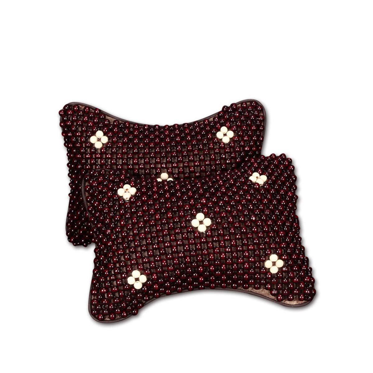 ECYC 2Pcs Car Neck Pillow Wood Bead Head Message Headrest Breathe Pillow Pad, Winred