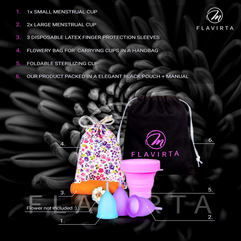Flavirta 3 Copas Menstruales (1 Pequeñas y 2 Grandes), Gratis Taza Plegable Reutilizable, Encuentra la que Mejor se te Ajusta, La Mejor Alternativa a los ...