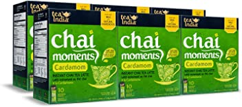 Tea India Chai Moments Instant Cardamom Tea, 10 Count (Pack of 6)