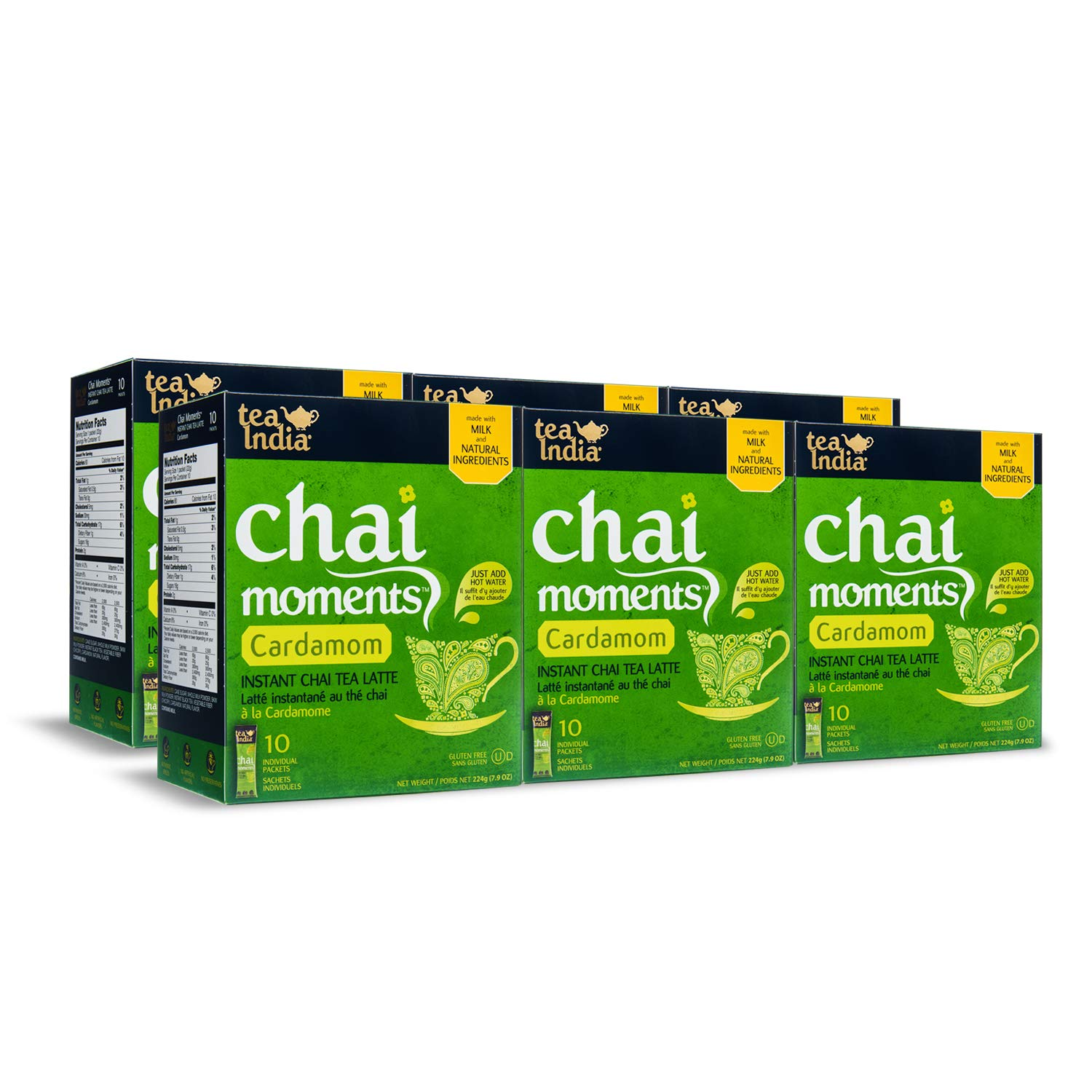 Tea India Chai Moments, Cardamom, 10 Count (Pack of 6) by Tea India
