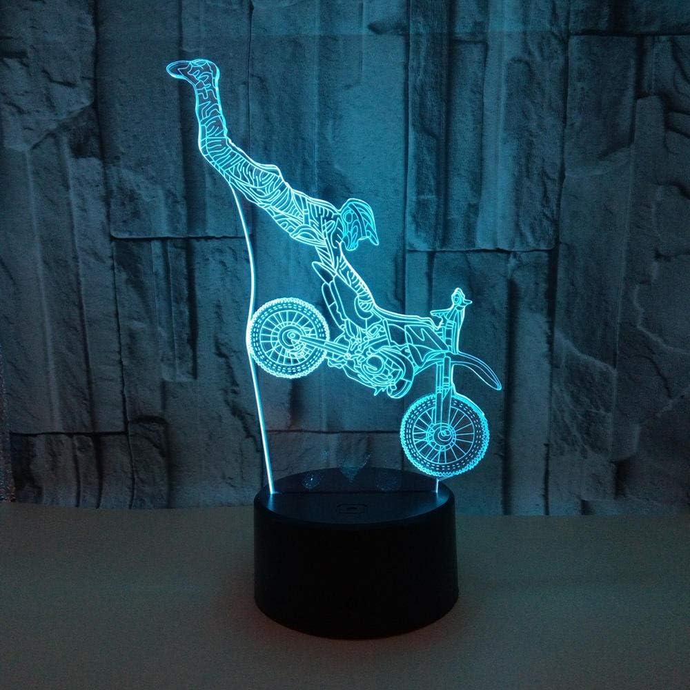 7 Del Tacto Del Color De La Lámpara Lámpara Ilusión Óptica 3D Luz Noche Led Con Cable Usb Y Control Remoto Decoración Lámpara Escritorio Para El Regalo Perfecto Para Mujeres Motociclista