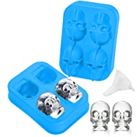 3D Skull Silicone Ice Cubes Mold Tray, for Whiskey Drinks-Party,Halloween Gifts.