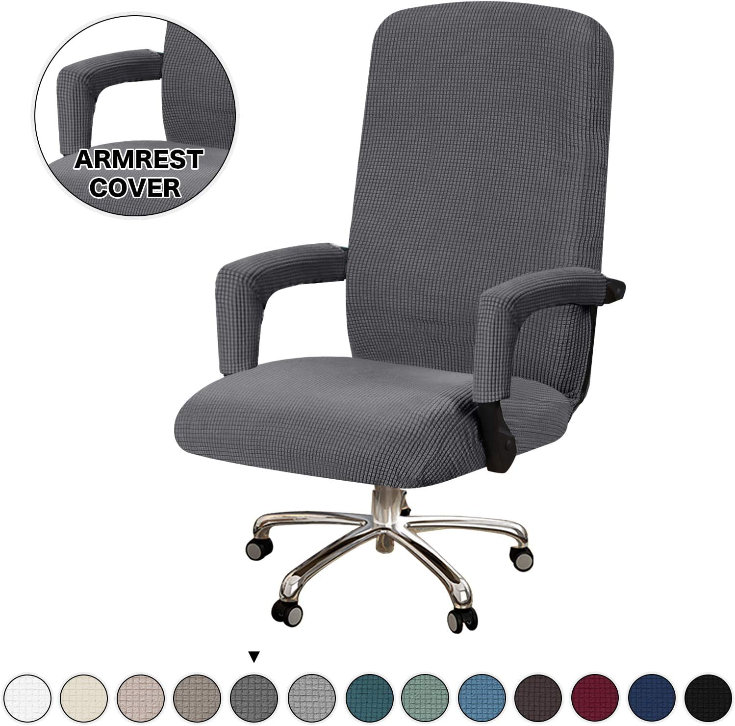 Turquoize Office Chair Cover Large Computer Chair Cover with Armrest Cover Stretch Washable Computer Chair Slipcovers for Universal Rotating Boss Chair Machine Washable, Large, Gray