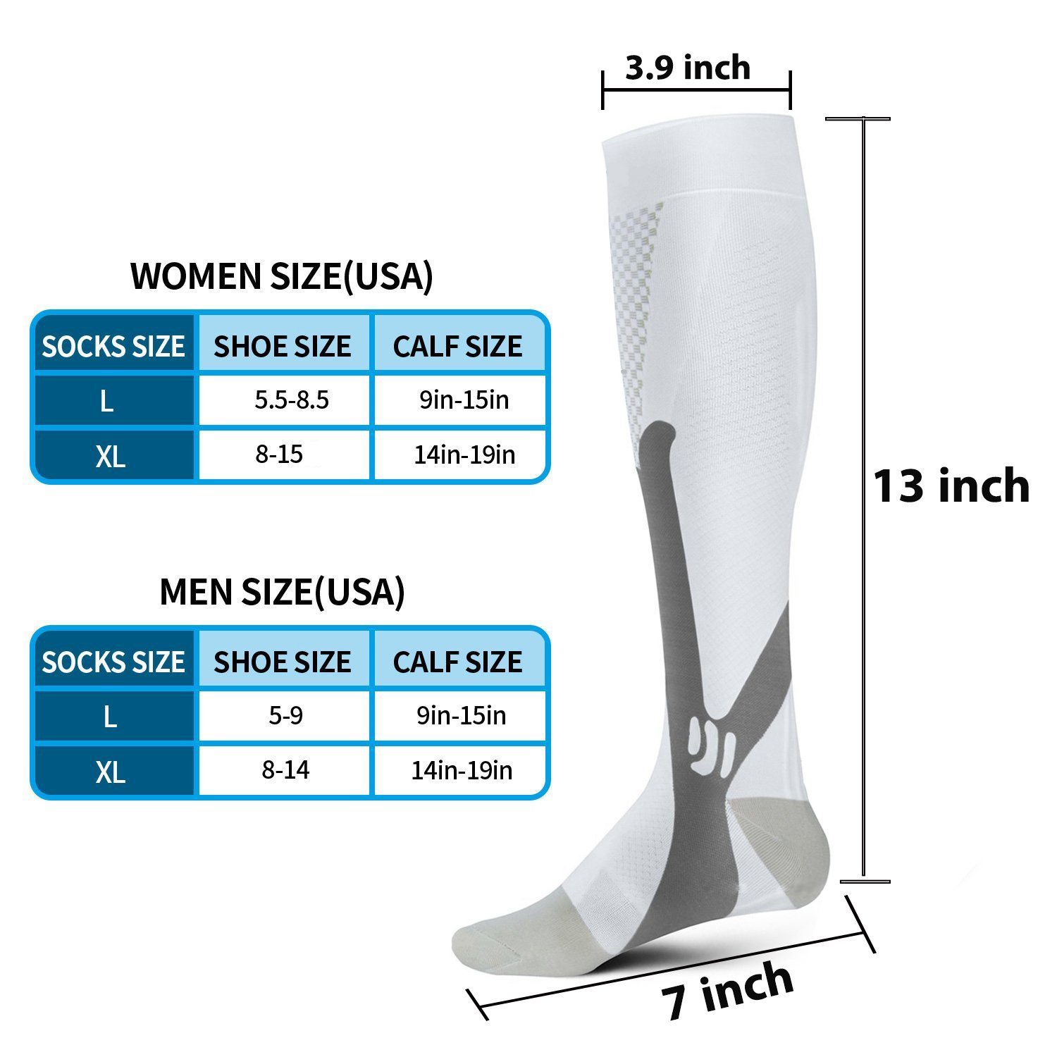 Aonsen Compression Socks for Men & Women (2 Pair), Compression Stockings (20-30 mmHg) for Running, Medical, Athletic, Varicose Veins, Flight Travel, Pregnancy, Shin Splints, Circulation & Recovery by Aonsen (Image #5)