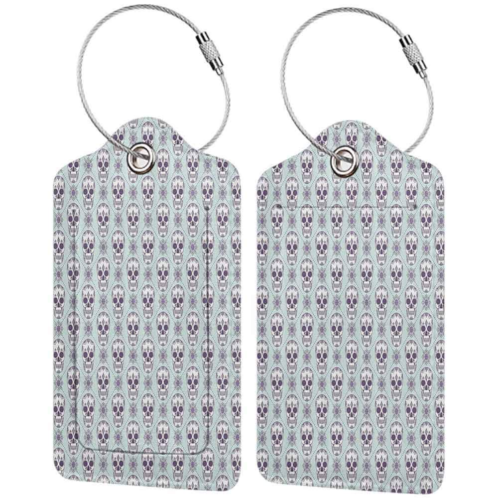 Waterproof luggage tag Skulls Decorations Flower Pattern On Skulls Geometric Floral Damask Background Soft to the touch W2.7 x L4.6