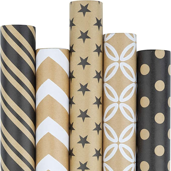 Made in the USA Modern Wrapping Paper Black and White Mother/'s Day Gift Wrap Pink Recycled Gift Wrap Valentine/'s Day Geometric