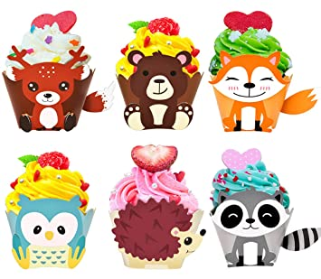 48 Pack Woodland Creatures Cupcake Toppers Cupcake Wrappers For Woodland Animal Baby Shower Decorations Kids Birthday
