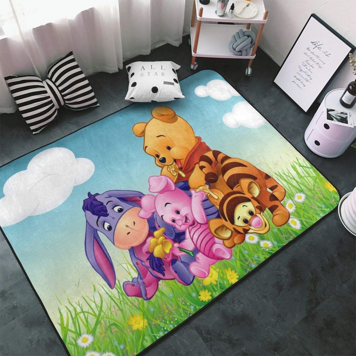 """Win-Nie The Pooh Non-Slip Area Rugs Fluffy Machine Washable Carpets 63"""""""" X 48"""""""" Suitable for Children Bedroom, Office Coffee Table Balcony Home Decor Rugs"""