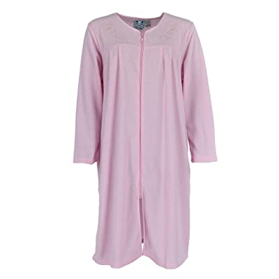 Kat Nap Women's Embroidered Zip Front Terry Duster Robe at Women's Clothing store