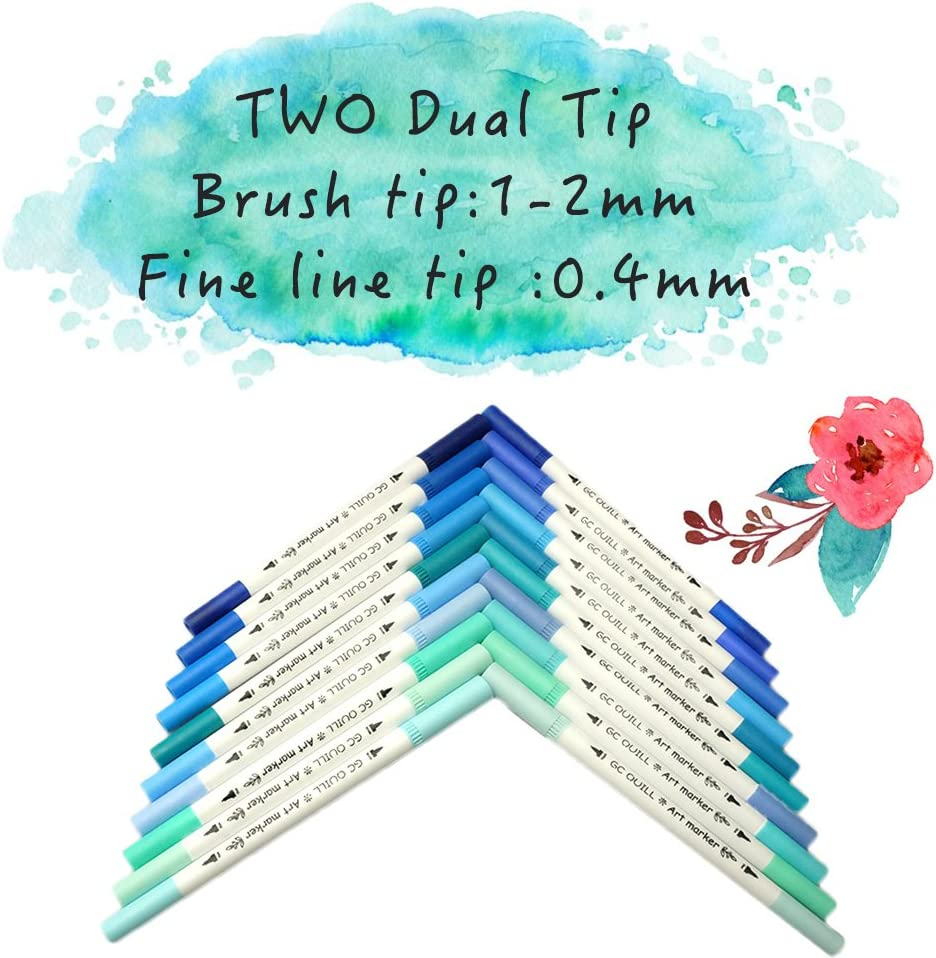 GC 100 Dual Tip Brush Pen Marker Set Flexible Brush /& Fineliner Tips Markers perfect for Adult Coloring Books Hand Lettering Calligraphy Bullet Journal Pens Manga Watercolor Effects