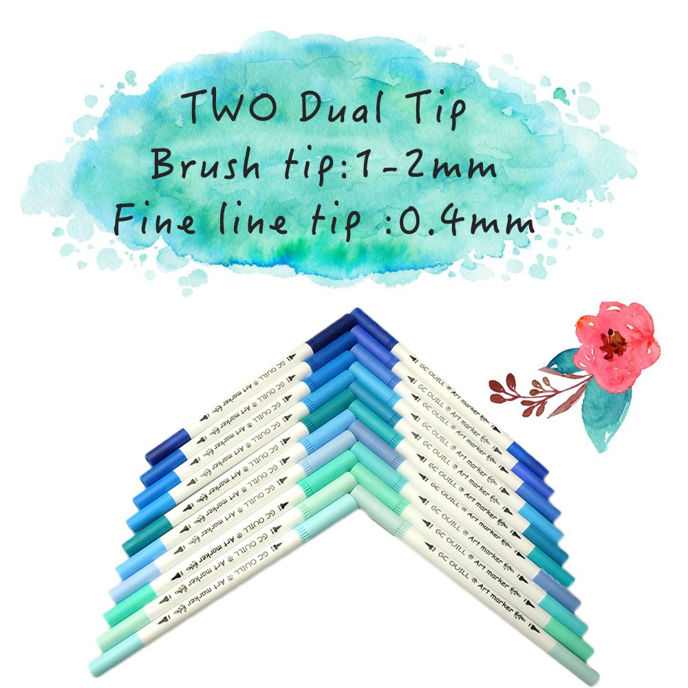 Amazon.com: GC 100 Dual Tip Brush Pen Marker Set Flexible Brush ...
