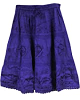 KayJay Styles® Solid Color Bohemian Hippie Belly Gypsy Short Cotton Mid Length Skirt