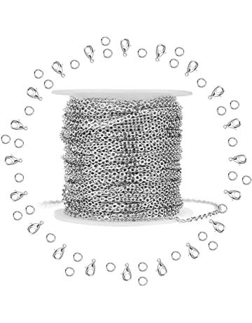Silver Stainless Steel Cable Chain WXJ13 Brand 11m 36FT Jewelry Making  Chains with 20 Lobster Clasps 9bc5151ed938