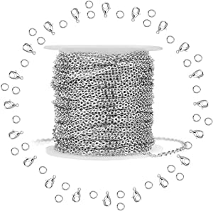 WXJ13 Silver Stainless Steel Cable Chain Brand 11m 36FT Jewelry Making Chains with 20 Lobster Clasps and 30 Jump Rings for Pendant Necklace DIY Making 1.5mm