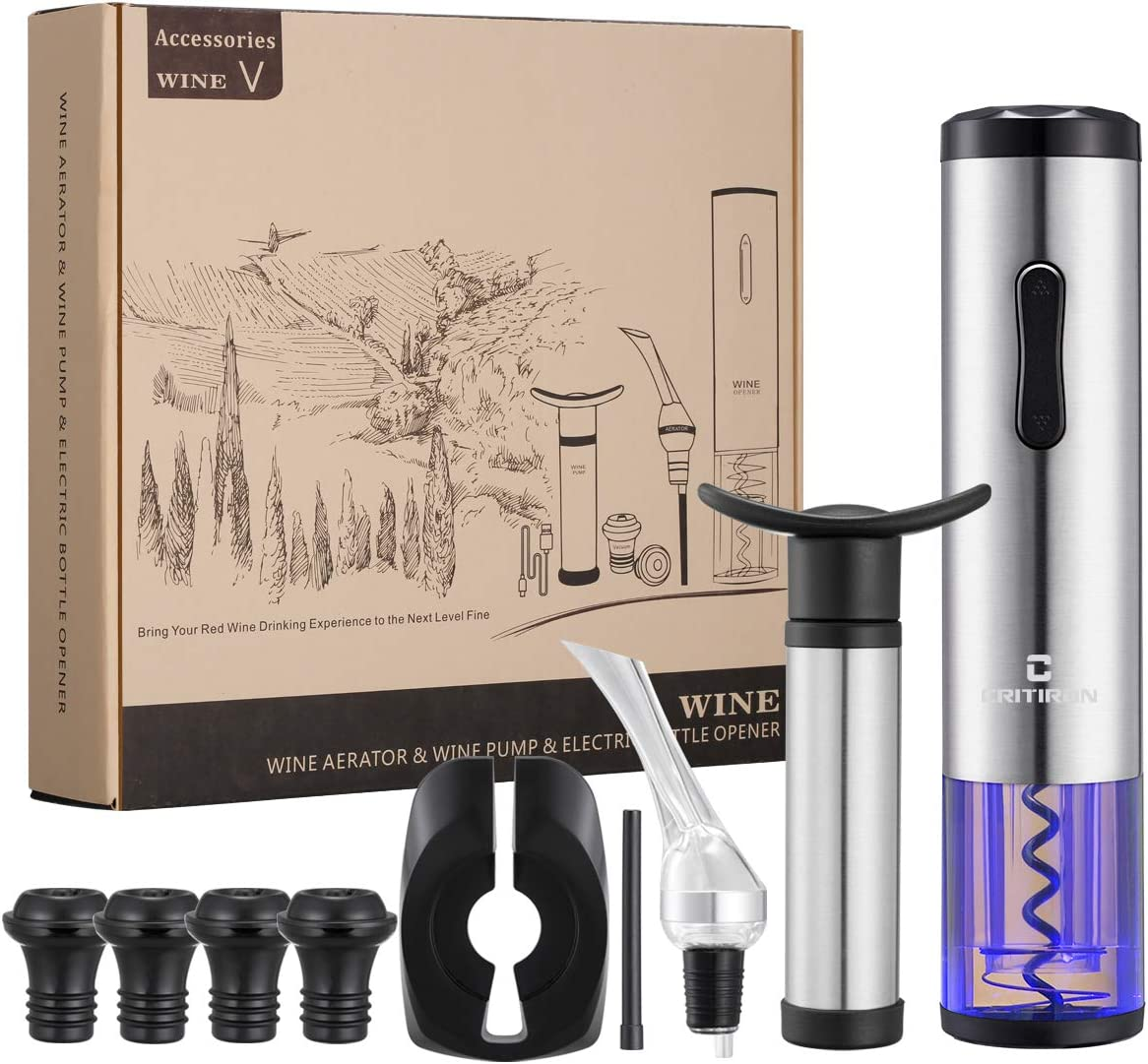CRITIRON Electric Wine Opener Set Rechargeable Automatic Wine Bottle Opener Cordless Electric Corkscrew with Aerator Pourer Foil Cutter Wine Saver Vacuum Pump and 4 Wine Stoppers