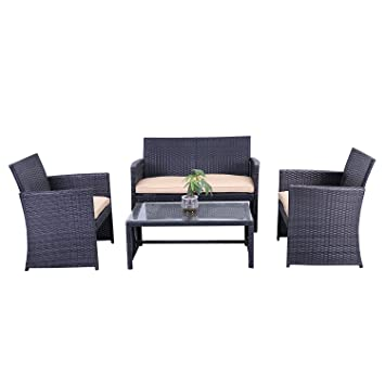 ALEKO RTCRM07BLK Indoor Outdoor Seattle Rattan 4 Piece Patio Furniture And  Coffee Table Set, Black