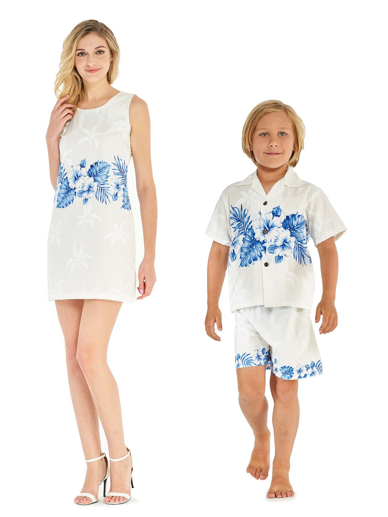 Made in Hawaii Matching Mother Son Dress Shirt Cabana Set in Golden Hibiscus White Blue M-6