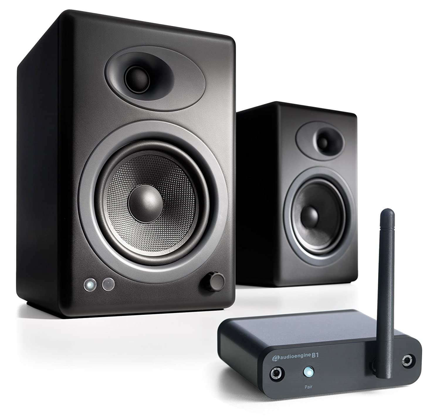 e343f2180 Amazon.com  Audioengine A5+ Limited Edition Premium Powered Desktop Speaker  Package (Black) With B1 Bluetooth Music Receiver  Computers   Accessories