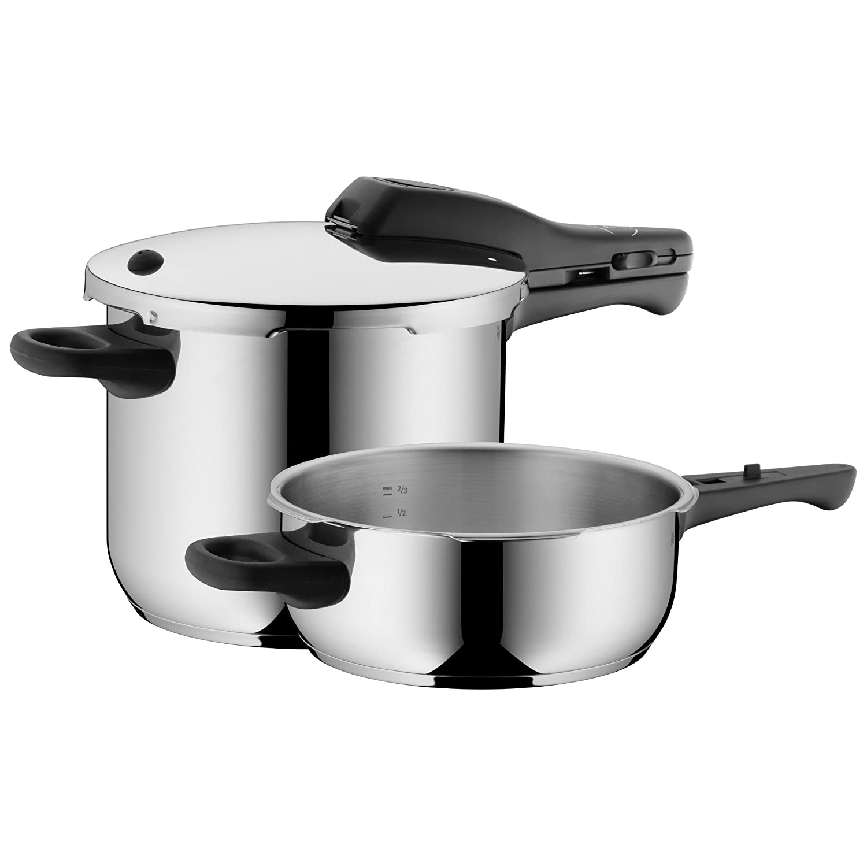 Cromargan Edelstahl poliert sp/ülmaschinengeeignet 2 Kochstufen Einhand-Kochstufenregler WMF Perfect Schnellkochtopf Set 2-teilig 6,5l /& 3,0l induktionsgeeignet /Ø 22 cm